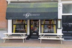 Fachada del restaurante de De Goedheyd en el centro de Utrecht, el Nethe Imagen de archivo libre de regalías