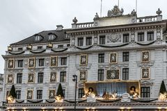 Fachada do d'Angleterre Copenhaga do hotel, com decoração do Natal Foto de Stock Royalty Free