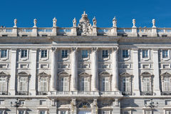 Fachada do palácio real espanhol no Madri Fotografia de Stock
