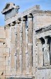 Fachada do templo de Erechtheum no Acropolis em Atenas foto de stock royalty free