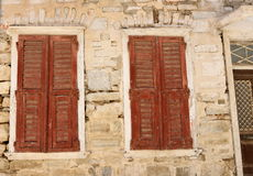 Fachada en Ermoupolis Syros, Grecia Foto de archivo libre de regalías