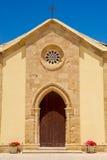 Fachada en Marzamemi, Sicilia (Italia) de la iglesia Fotografía de archivo