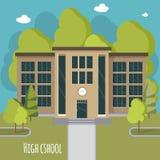 Fachada hermosa de la High School secundaria Eduque la colección del tema ilustración del vector