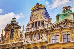 Fachada hermosa Grand Place Bruselas Bélgica Imagen de archivo libre de regalías