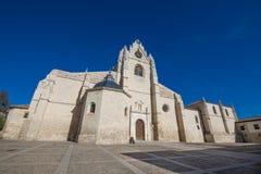 Fachada lateral da catedral de San Antolin em Palencia fotografia de stock
