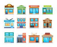 Fachada moderna determinada del edificio de la ciudad Edificio de la calle de la ciudad Paisaje urbano libre illustration