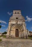 Fachada ocidental da igreja de Rioux Foto de Stock Royalty Free