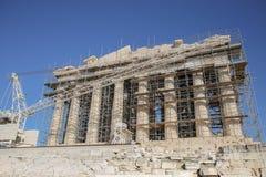 Fachada ocidental do Partenon durante trabalhos da restauração Imagem de Stock