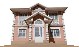 A fachada principal de uma casa residencial, cor-de-rosa e simétrica 3d rendem ilustração stock