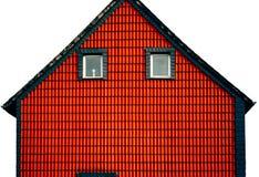 Fachada vermelha da casa da abstração imagens de stock