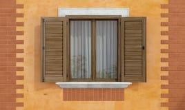 Fachada vieja con las ventanas de madera ilustración del vector
