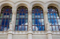 Fachada y ventanas, Budapest de la sala de conciertos de Vigado Imagen de archivo libre de regalías