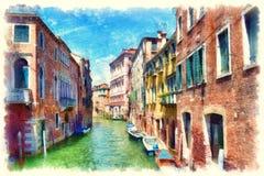 Fachadas coloridas de casas medievais velhas sobre um canal em Veneza Foto de Stock