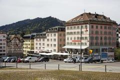 Fachadas coloridas de edificios en Einsiedeln Imagen de archivo libre de regalías
