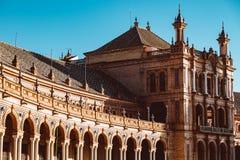 Fachadas das constru??es no quadrado espanhol ou na plaza de Espana andalusia foto de stock royalty free