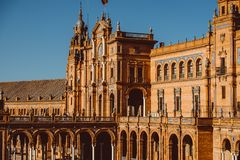 Fachadas das constru??es no quadrado espanhol ou na plaza de Espana andalusia fotos de stock royalty free
