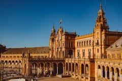 Fachadas das constru??es no quadrado espanhol ou na plaza de Espana andalusia imagens de stock royalty free