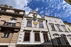 Fachadas de casas en Krems Foto de archivo libre de regalías