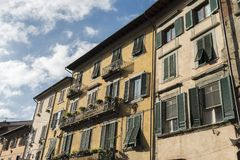 Fachadas de casas de Pisa Fotografía de archivo libre de regalías