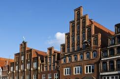 Fachadas no ofLunenburg do centro de cidade histórica Fotografia de Stock