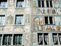 Fachadas pintadas o Bemalte Fassaden, Stein am Rhein foto de archivo