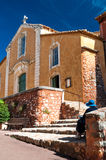Fachade of Eglise Saint Michel at Roussillon in France Royalty Free Stock Photos