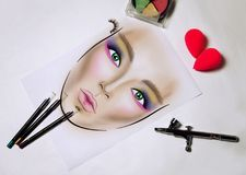 Facechart makeup template for drawing cosmetics royalty free stock images