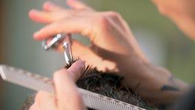 Fachmann tätowierte den Friseur, der seinem Kunden in einem Friseursalon einen neuen Haarschnitt gibt stock video