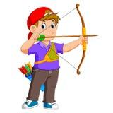 Fachowa łuczniczka archering z dobry pozować royalty ilustracja