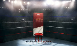 Fachowa bokserska arena w światłach z krzesła 3d renderingiem Obraz Royalty Free