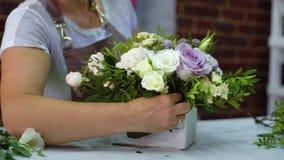 Fachowa kwiaciarnia układa pięknego kwiatu skład w drewnianym pudełku w kwiecistego projekta studiu zdjęcie wideo