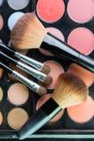 Fachowa makeup paleta z makeup muśnięciem Fotografia Stock