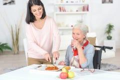 Fachowa pielęgniarka karmi starej damy zdjęcia royalty free