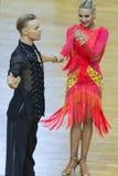 Fachowa taniec para Wykonuje Youth-2 latyno-amerykański program na WDSF zawody międzynarodowi WR tana filiżance Zdjęcia Stock