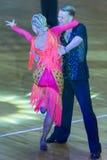 Fachowa taniec para Wykonuje Youth-2 latyno-amerykański program na WDSF zawody międzynarodowi WR tana filiżance Obraz Stock