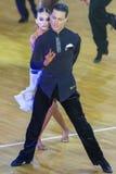 Fachowa taniec para Wykonuje Youth-2 latyno-amerykański program na WDSF zawody międzynarodowi WR tana filiżance Zdjęcie Stock