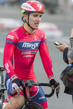 Fachowe Drogowe cyklisty Evgeny Korolek pozy jako zwycięzca Międzynarodowy Drogowy kolarstwo Turniejowy Uroczysty Prix Minsk-2017 Zdjęcia Royalty Free