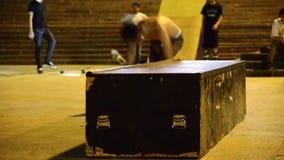 Fachowej Rolkowej łyżwy rampy ślizgowa sztuczka zdjęcie wideo