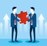 Fachowi biznesmeni z łamigłówki strategii pomysłem ilustracja wektor