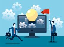 Fachowi biznesmeni z komputeru i żarówki pomysłem ilustracja wektor