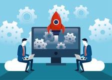 Fachowi biznesmeni z laptop rakietą i technologią ilustracji
