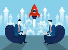 Fachowi biznesmeni z laptopu i rakiety technologią ilustracji