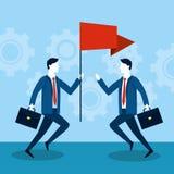 Fachowi biznesmeni z pracy flagą i teczką royalty ilustracja
