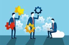 Fachowi biznesmeni z przekładniami i łamigłówki strategią royalty ilustracja