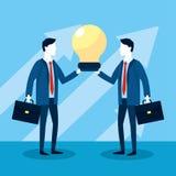 Fachowi biznesmeni z teczki i żarówki strategią royalty ilustracja