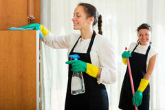 Fachowi czyściciele myje mieszkanie Zdjęcie Stock