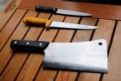Fachowi szefa kuchni s noże obraz royalty free