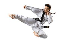 Fachowy żeński karate wojownik odizolowywający dalej Zdjęcie Stock