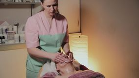 Fachowy cosmetologist robi masa?owi starsza kobieta Cosmetological innowacje zbiory