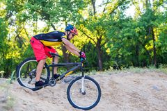 Fachowy cyklista pochodzi od wierzchołka na rowerze górskim, krańcowy sport obrazy royalty free